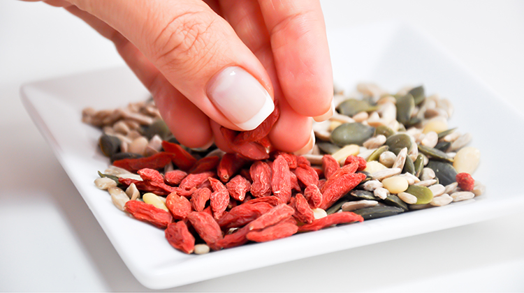 Plate of nuts and seeds